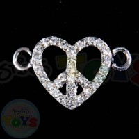 Rhinestone Charm - Peace Heart